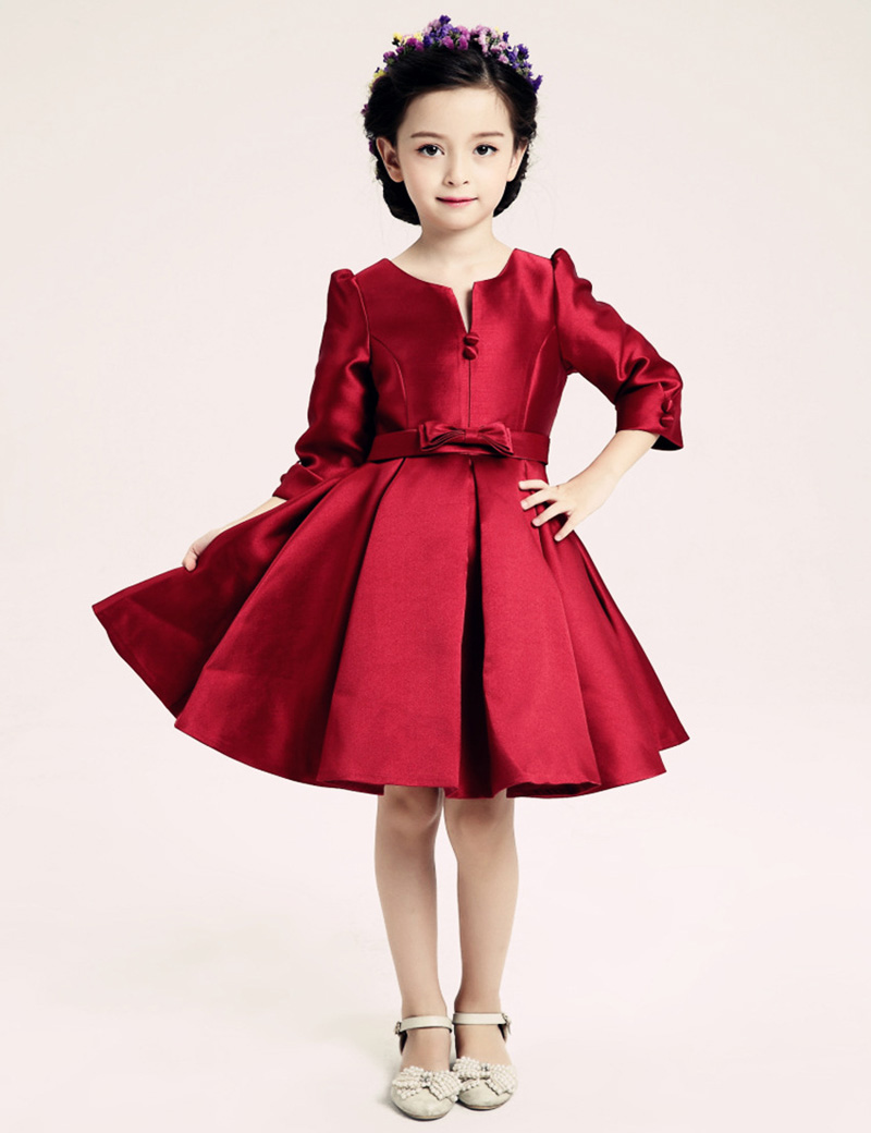 Ribbon Girl Dresses Red Bow High Quality Flower Girl Dresses For Party And Wedding Princess Dress Age 3-14Years VestidosDeMenina new high quality fashion excellent girl party dress with big lace bow color purple princess dresses for wedding and birthday