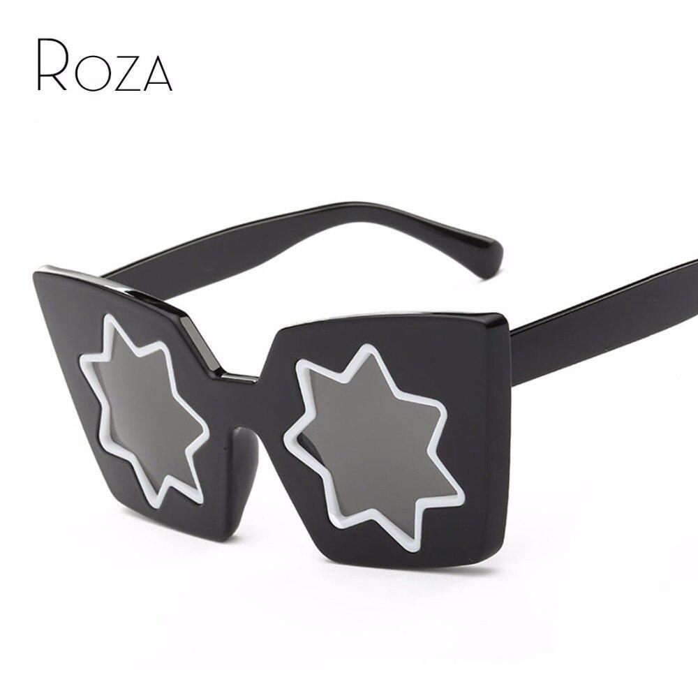ROZA font b Sunglasses b font Women Summer Style Brand Designer Five Pointed Star Lens font
