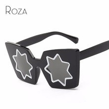 ROZA Sunglasses Women Summer Style Brand Designer Five-Pointed Star Lens Cat Eye Frame Sun Glasses With Box QC0403