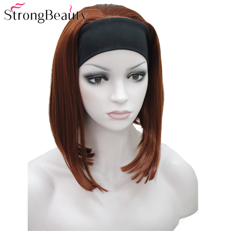 StrongBeauty Half Ladies' 3/4 Wig With Headband Straight Synthetic Capless Hair Women Wigs 10 Colors