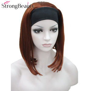 Image 5 - StrongBeauty Half Ladies 3/4 Wig With Headband Straight Synthetic Capless Hair Women Wigs 10 Colors
