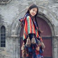 Bohemian Rainbow Color thick Hand knit tassels shawl Fringed scarf cloak Geometric Poncho Hoodie Cardigans Travel blankets