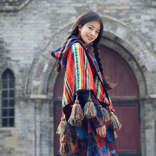 Bohemian Rainbow Color thick Hand knit tassels shawl Fringed scarf cloak Geometric Poncho Hoodie Cardigans Travel blankets(China)
