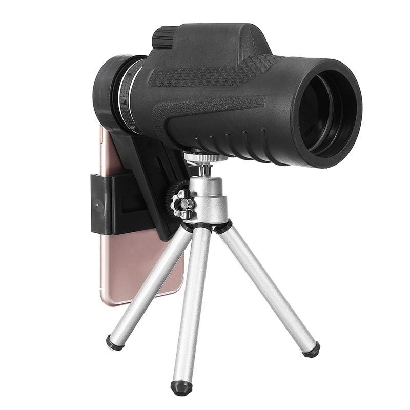 imágenes para Universal 40X60 Monocular Telescopio Lente de La Cámara Del Teléfono + Clip + Trípode Para el iphone Para Samsung Xiaomi Huawei Móvil Lente de teléfono