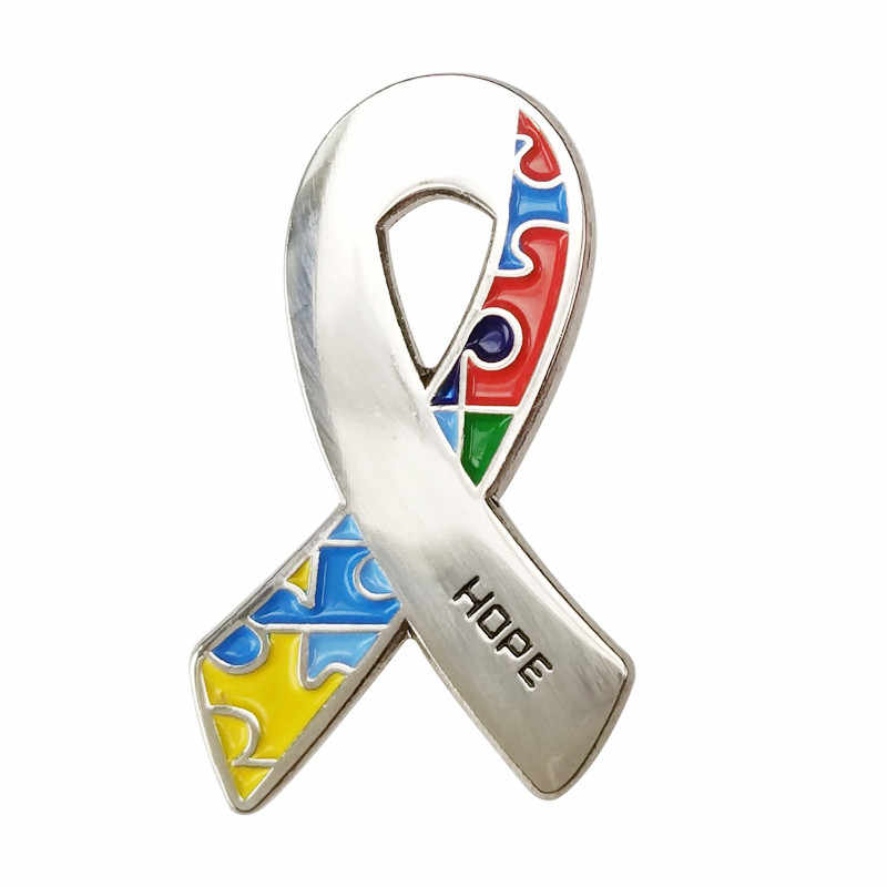 1471d078d3e Autism Awareness Heart Hope Walking Angel Jigsaw Puzzle Ribbon Lapel Pins