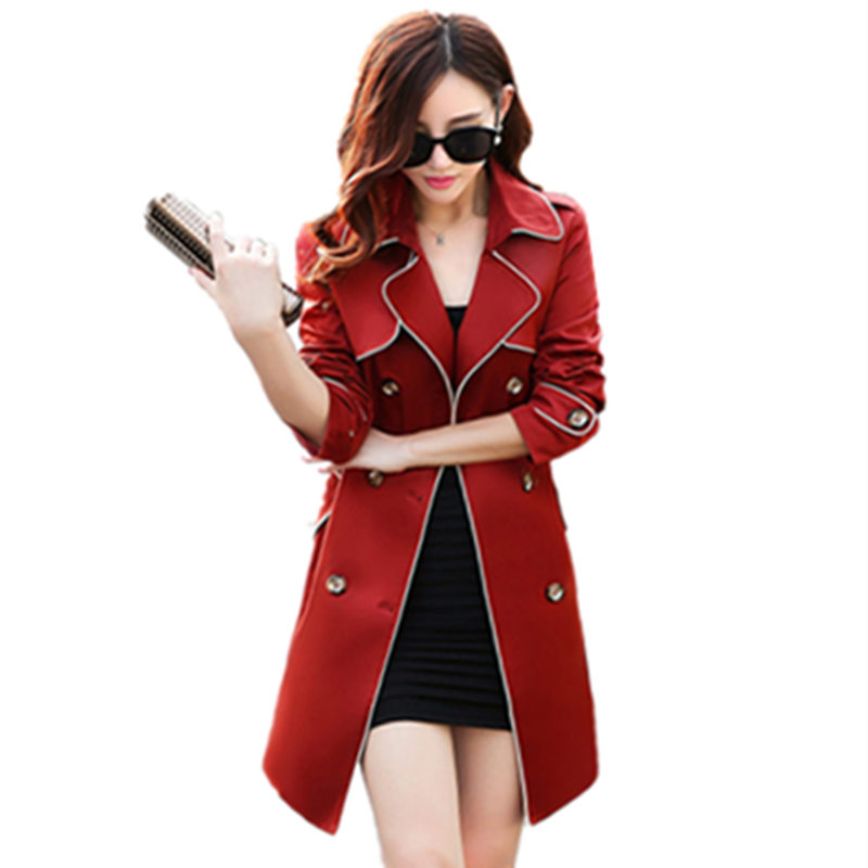 New Women Fashion Trench Coat Hot 2017 Spring Slim Double breasted Trench Coat For Women Sashes