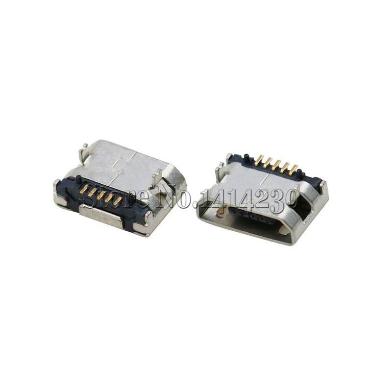 10Pcs 5.9mm Micro USB 5P,5-pin Micro USB Jack,5Pins No Curling Micro USB Connector Tail Charging Socket Mini USB