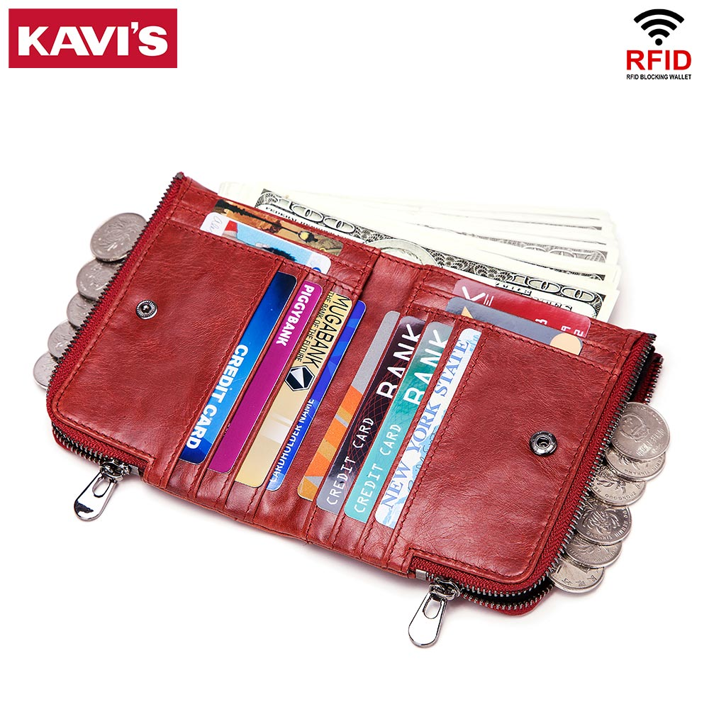 KAVIS Rfid Genuine Crazy Horse Leather Wallet Men Walet Portomonee Male Cuzdan Short Coin Purse PORTFOLIO Card Holder Fashion gzcz genuine leather wallet men zipper design bifold short male clutch with card holder mini coin purse crazy horse portfolio