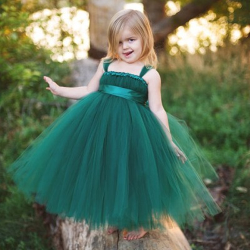2019 Cheap Tulle   Flower     Girl     Dresses   Square Neck with Spaghetti Straps Communion   Dresses   Pageant   Dresses   for Little   Girls