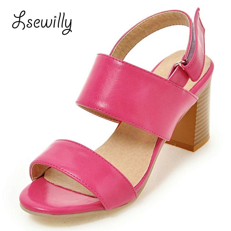 Lsewily 2017 Plus size 34-43 new fashion ankle strap women sandals peep toe high thick heels shoes summer platform sandals SS774 women sandals new summer peep toe ankle strap thick high heel sandals platform high quality casual fashion shoes size 31 43