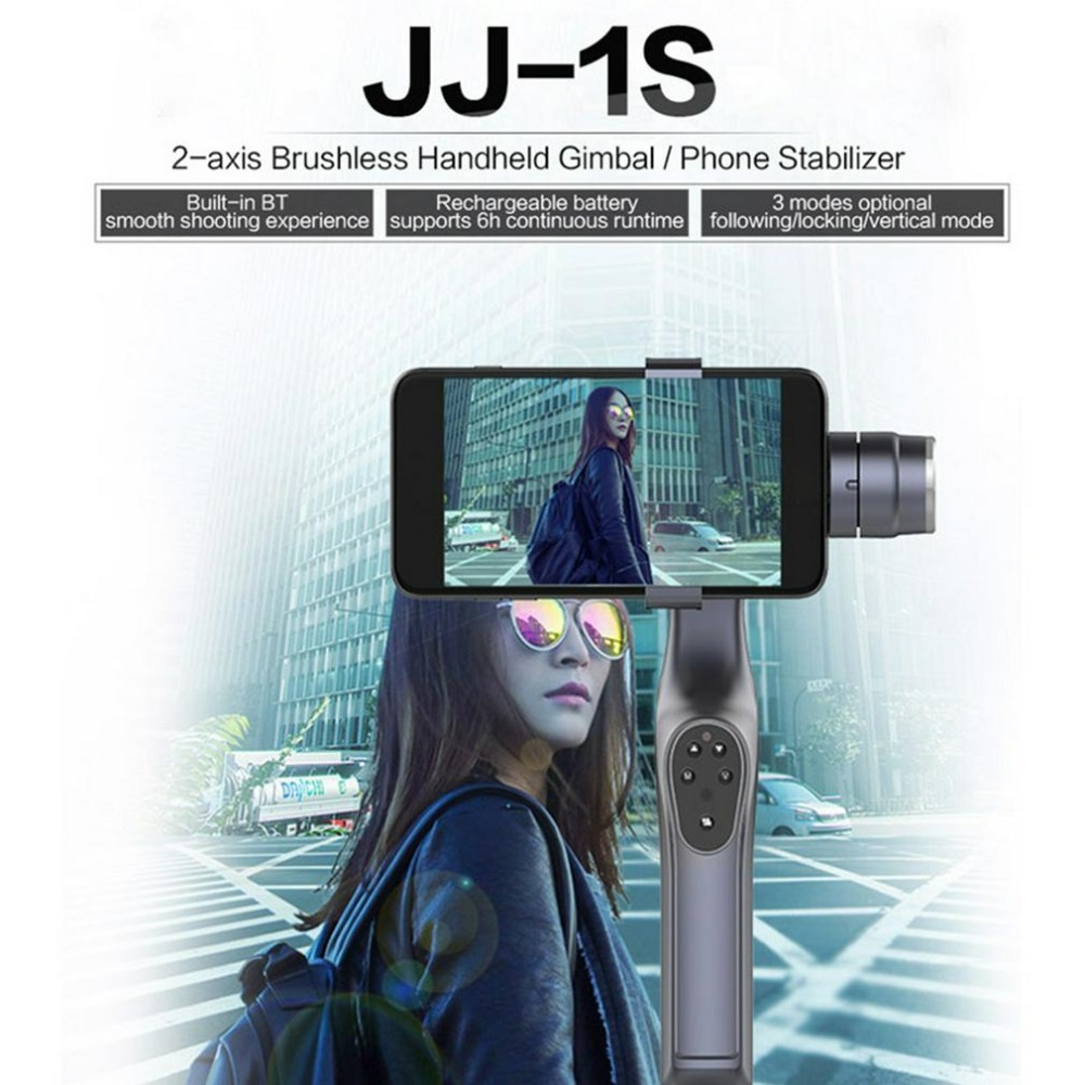 JJ-1S 2-axis Smartphone Brushless Handheld cam Gimbal Tray Stabilizer for GOPRO/YI/SARGO/MEEE GOU Sport Action Camera