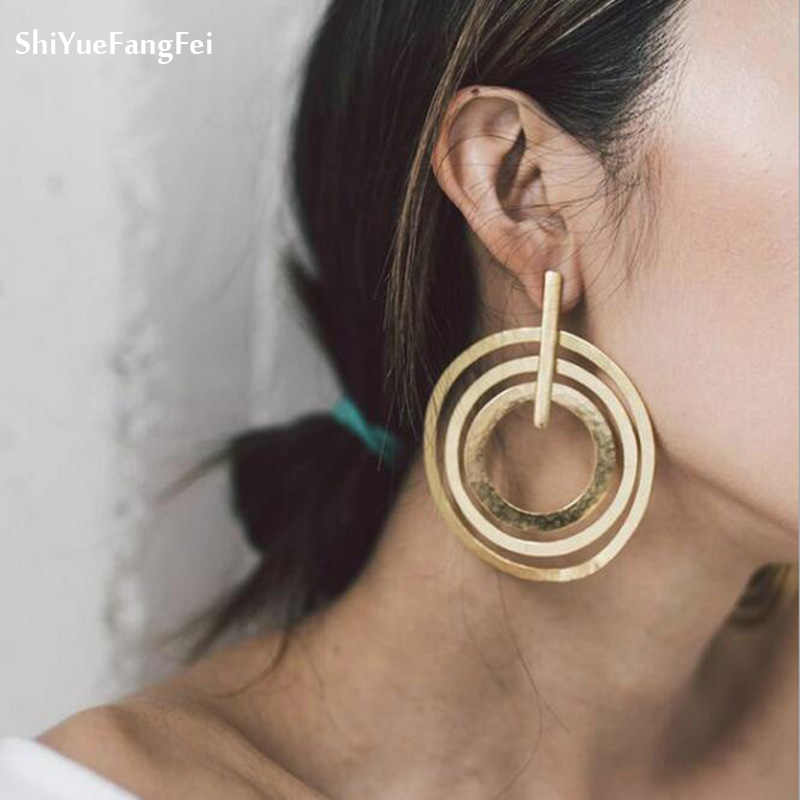 Vintage Earrings for women gold color Geometric Statement Earring 2018 Texture Metal Drop Earing Hanging Fashion Jewelry