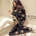 Одеяло Шарф Звезда Шаблон Пашмины Пончо Моды Подарки для Женщин 200*60 см