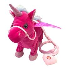 35cm Cute Electric Walking Unicorn Plush Toy Stuffed Animal Electronic Doll Sing Song Christmas