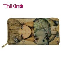 Thikin Long Wallets Animal Painted Printing Zipper Phone Bag Card Holder for Ladies Clutch Purse Carteira Handbags Notecase 2019 thikin kawaii long wallets cartoon printing zipper phone bag card holder for ladies clutch purse carteira handbags notecase 2019
