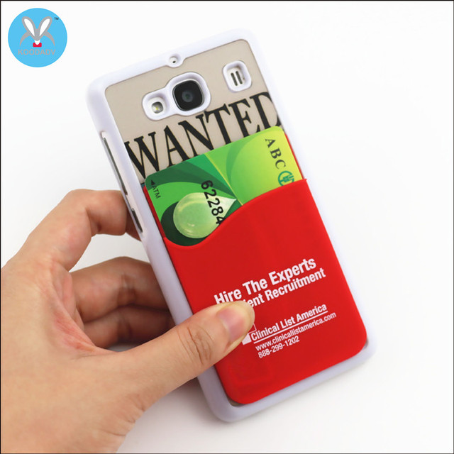 custom silicone card holder 3m adhesive card sleeve silicone card pocket for cellphone - Custom Adhesive Cell Phone Card Holder