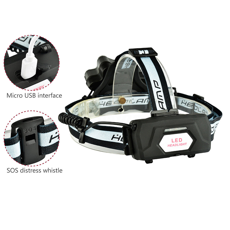 7LED T6 Headlamp USB Rechargeable 18650 Headlight Torch Lamp Waterproof Micro USB Super Bright LED With SOS Help Whistle lumiparty 4000lm headlight cree t6 led head lamp headlamp linterna torch led flashlights biking fishing torch for 18650 battery