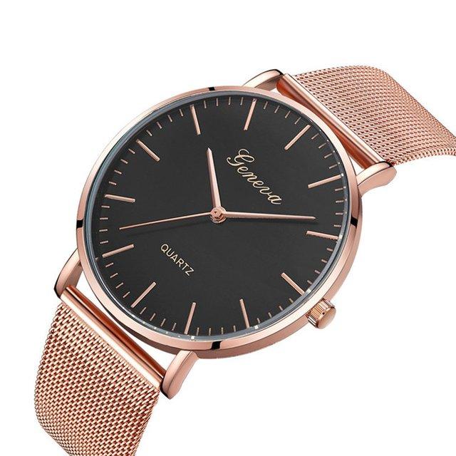 Fashion Casual watches Womens Men Classic Quartz Stainless Steel Wrist Watch Bracelet Watches Black White Dial Case 2019