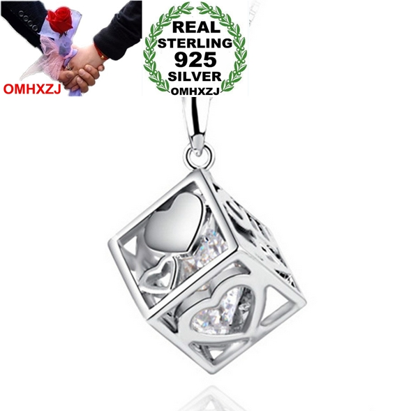 OMHXZJ Wholesale font b jewelry b font Square woman man Love Cube kpop fashion 925 sterling