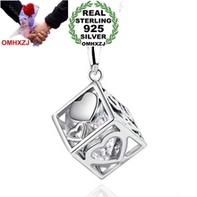 OMHXZJ Wholesale jewelry Square woman man Love Cube kpop fashion 925 sterling silver pendant Charms PE42