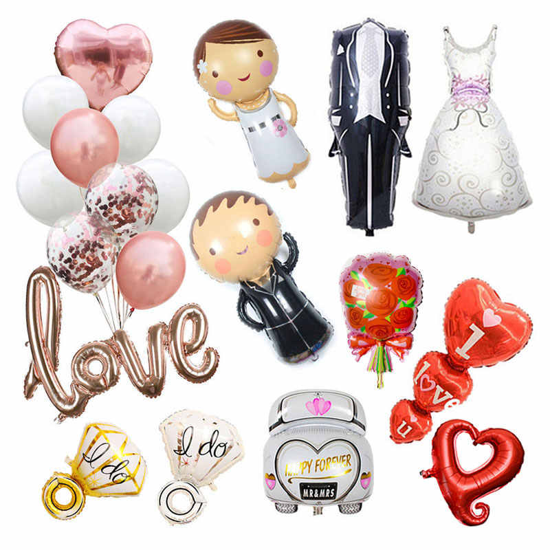 Wedding Love Balloon Bride Groom Ballons Bride To Be Letter Balloon for Wedding Mariage Deco Party Decorations Adult Air Globos