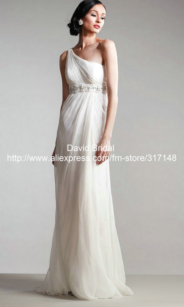 Grecian Style Straight One Shoulder Beaded Chiffon Long ...
