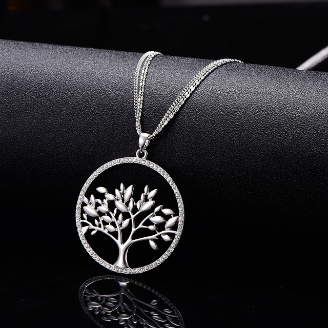 Tree Of Life Necklace Women Fashion Statement Jewelry Long Chain Gold Color Crystal collier femme collares largos de moda 2019