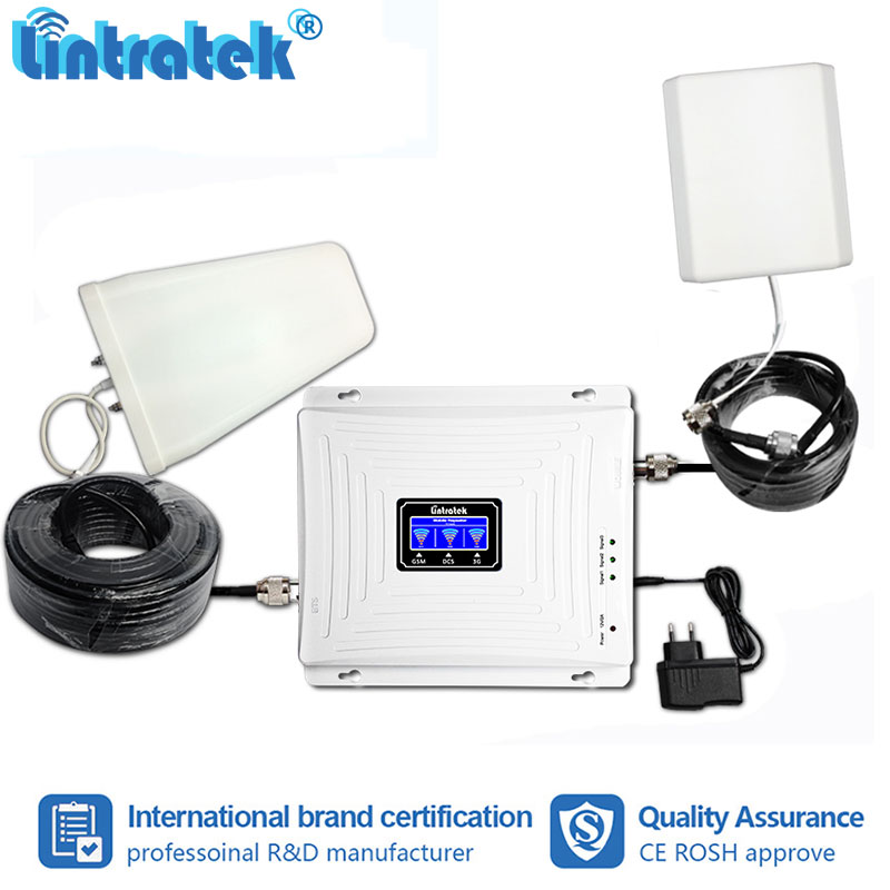Lintratek 2G 3G 4G Tri Band Cellphone Signal Booster GSM W-CDMA LTE 900 1800 2100mhz Repeater Amplifier Repetidor Full Kit S50Lintratek 2G 3G 4G Tri Band Cellphone Signal Booster GSM W-CDMA LTE 900 1800 2100mhz Repeater Amplifier Repetidor Full Kit S50