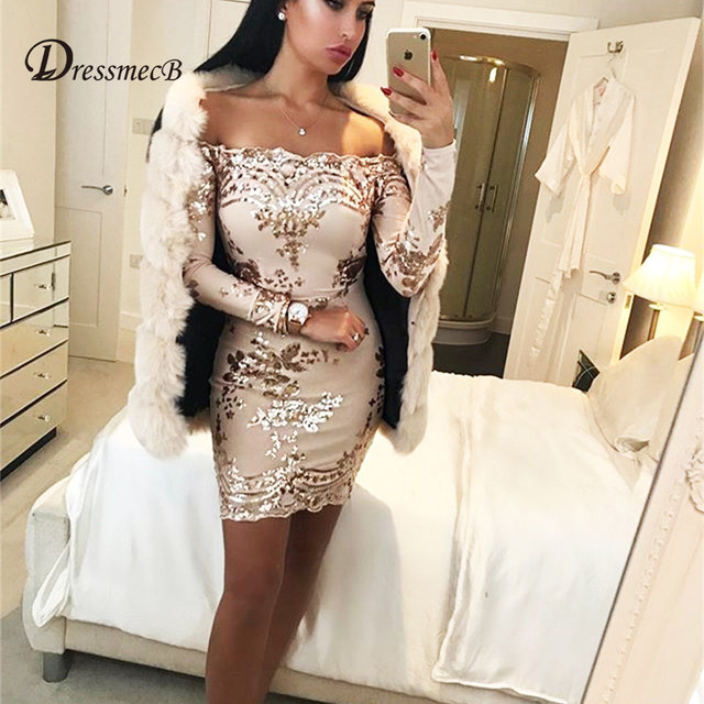 DRESSMECB Autumn Sexy Off Shoulder Sequined Short Dresses Women Winter Long  Sleeve Vintage Mini Club Dress Bodycon Vestidos 60d8f0797977