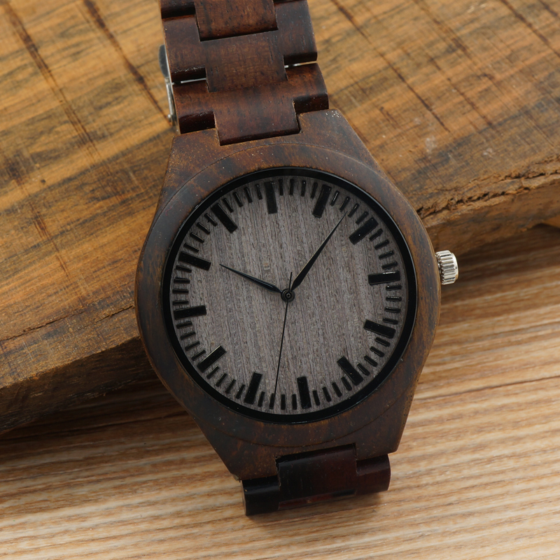2017 BOBO BIRD Men's Watches All Black Wood Wristwatch with Wood Strap Japan Movement 2035 Quartz Wood Watches as Gifts for Men bobo bird f08 mens ebony wood watch japan movement 2035 quartz wristwatch with leather strap in gift box free shipping