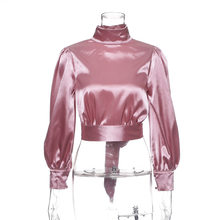 womens blouses and tops plus size pink satin shirt 2019 spring autumn long sleeve open back blouses turtleneck crop tops T8305(China)