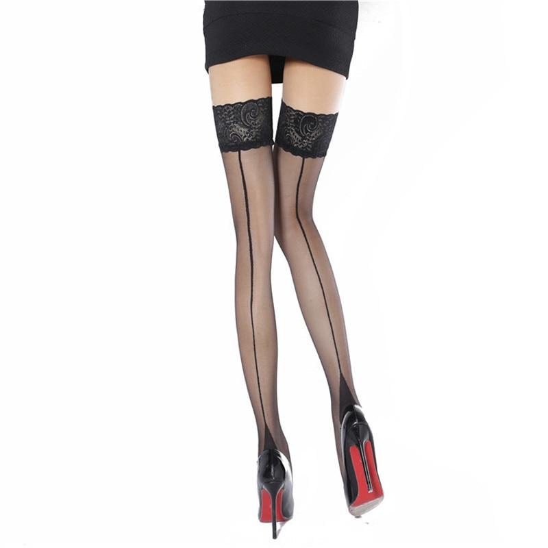 גב תפר גרביים סקסיים נשים גרביים גבוהים ירך גרביים ארוכים נקבה גרביונים פרח שחור גרב תחרה מעל גרבי הברך