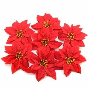 Image 3 - 10 sztuk 14cm flanela duże sztuczne główki kwiatu róży dla domu dekoracje ślubne Scrapbooking choinka bożonarodzeniowa DIY jedwabne kwiaty