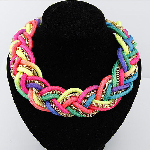 Match-Right Colorful Handmade Woven Statement Necklace Summer Style Necklaces & Pendants Women Choker Jewelry For Gift Party ...