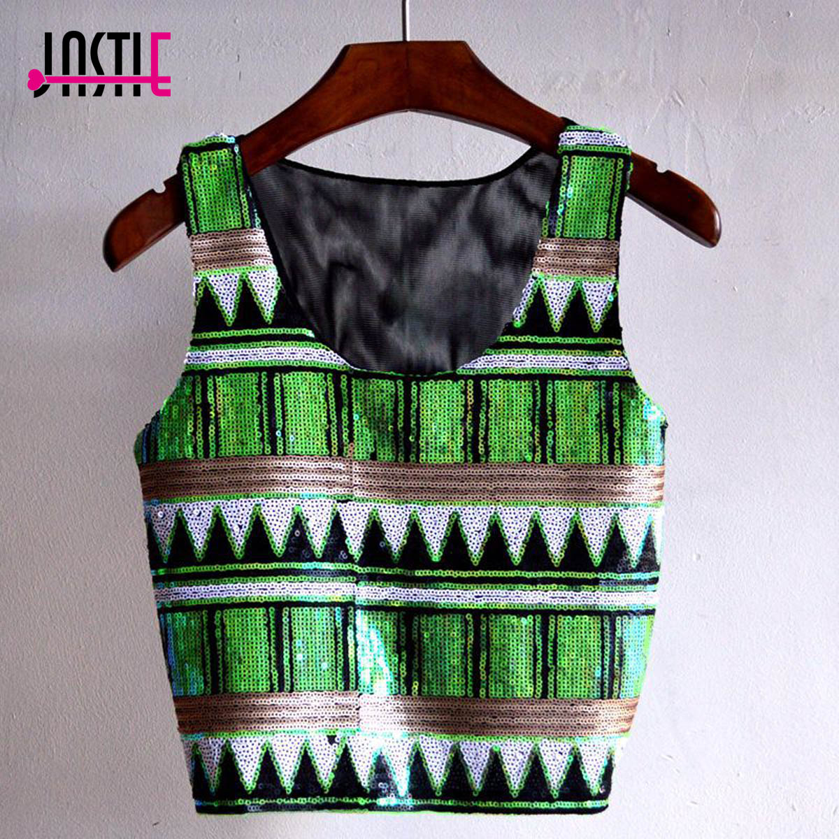Jastie Party Club Sequins Women Tanks Top Boho Style Bling Tops Vest Mesh  Back Crop Top Shirt Beach Wear Camis Blusa Shirts b8b4d5fce6e3