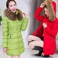 Moda Mujer Chaqueta de invierno Largo y Grueso Caliente Abajo Abrigo de Algodón Más tamaño de Alta Calidad de Cuello de Piel Delgada Mujeres de la Capa Parka Abrigos F6030