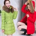 Mulheres Jaqueta Moda inverno Longo Grosso Quente Para Baixo Casaco de Algodão Mais tamanho de Alta Qualidade Gola De Pele Casaco Fino Casacos Mulheres Parka F6030
