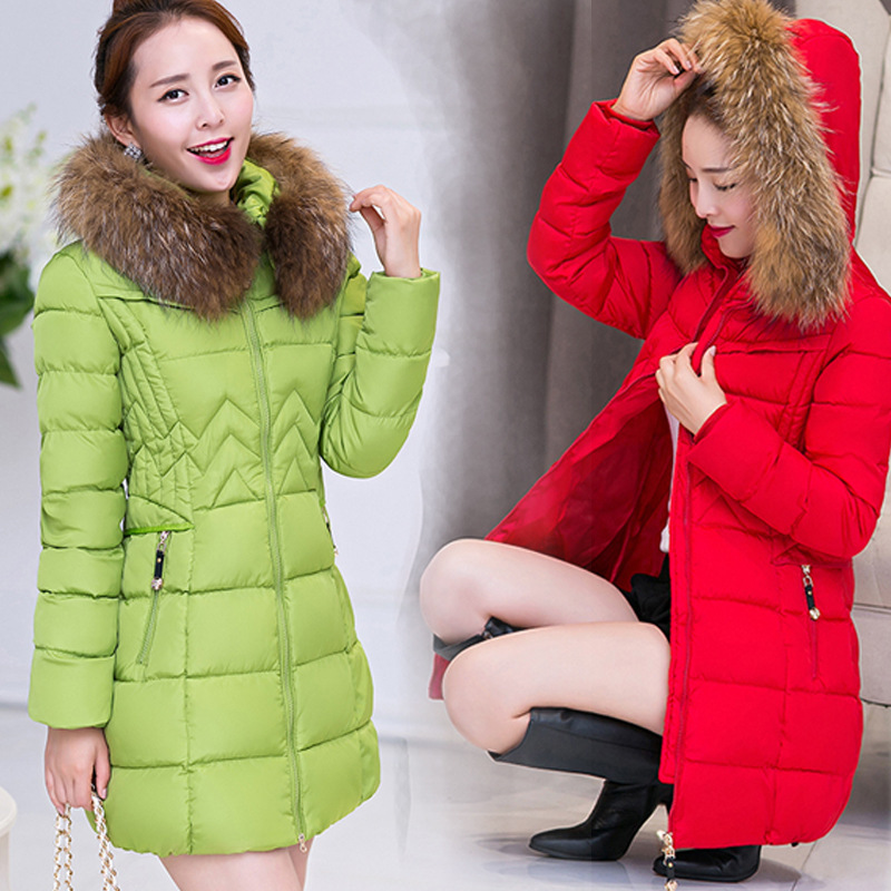 Winter Jacket Women Fashion Long Thick Warm Coat Cotton Plus Size High Quality Fur Collar Slim Coat Women Parka Coats F6030 winter women fashion long thick warm 100%cotton filling jacket women plus size fur raccoon collar slim coat overcoat parka