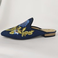 New ladies blue peony embroidery Muller shoes pointed shallow mouth shoes blue denim slippers with large size 34 45