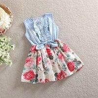 EMS DHL Free Shipping Toddler Korea Style Fashion Elegant Little Girls Princess Holiday Denim Chiffon Florak