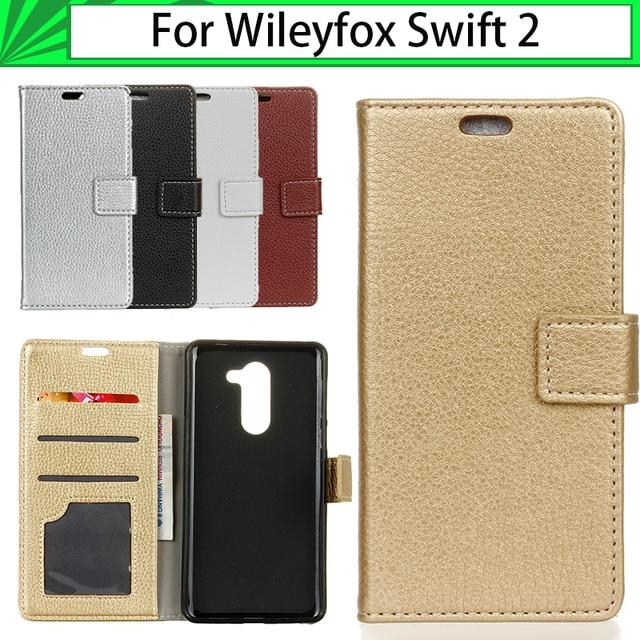 "JURCHEN Case For Wileyfox Swift 2 Case 5.0"" TPU Silicone Litchi Pattern Leather Flip For Wileyfox Swift 2 Plus Case Cover 34"