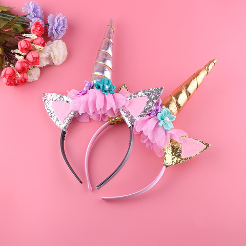 1PC Handmade Kids Gold Unicorn Headband Horn Glittery Beautiful Christmas Party Headwear Hairband Hair Accessories Gold/Silver Karachi