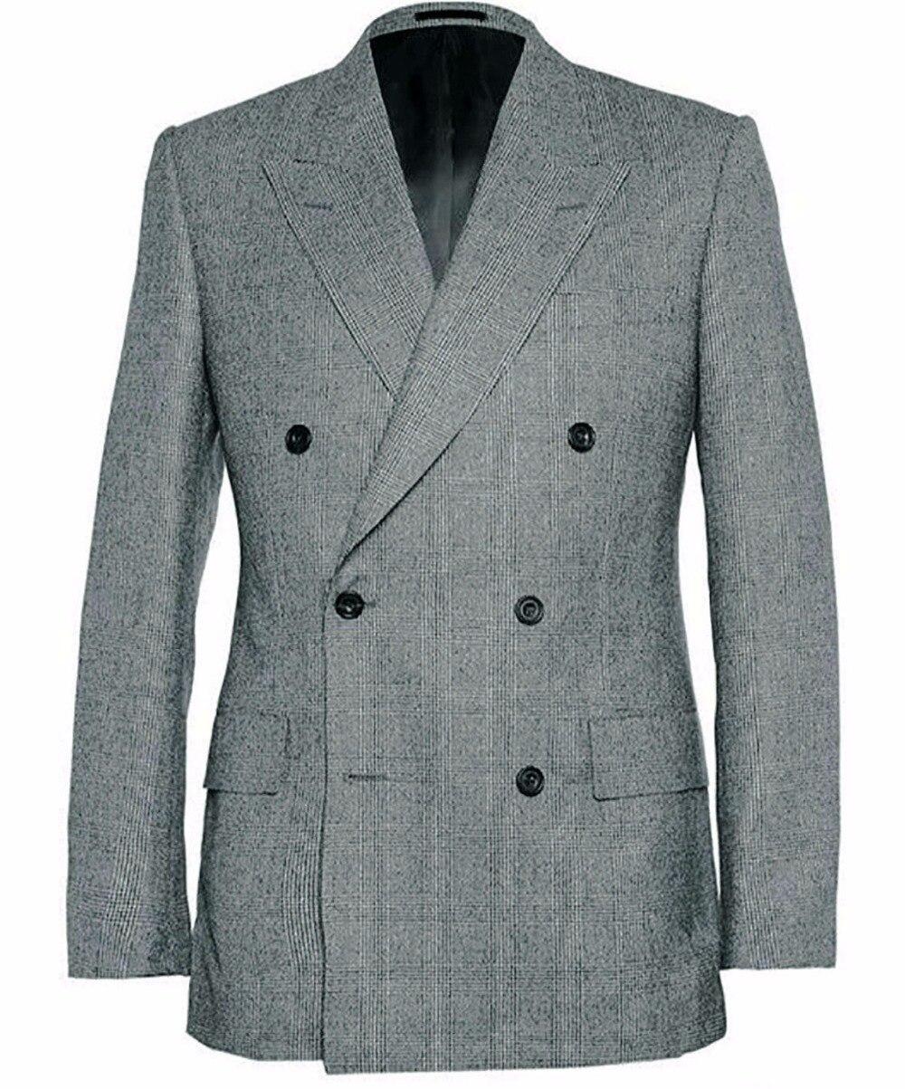 Hommes garde robe essentiels Double boutonnage classique gris Glen carreaux costumes pour hommes sur mesure gris Glen Plaid avec large pointe revers-in Costumes from Vêtements homme    1