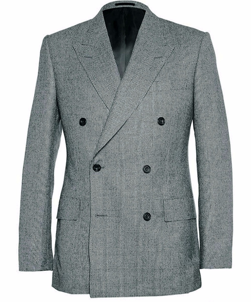 Men 'S خزانة أساسيات مزدوجة الصدر الكلاسيكية رمادي غلين تحقق الدعاوى للرجال مخصص رمادي غلين منقوشة مع واسعة الذروة طية صدر السترة-في بدلة من ملابس الرجال على  مجموعة 1
