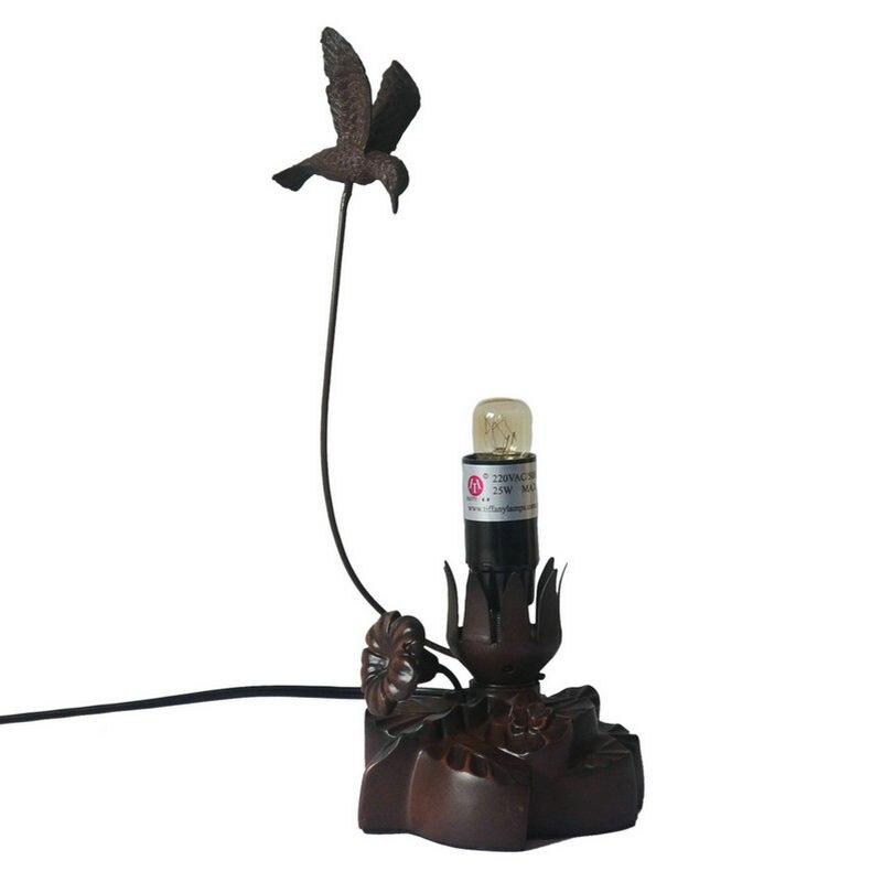 Смолы бутон цветка светодиодный лампа настольная лампа для взрослых Спальня, творческий птица ночь свет лампы для маленьких мальчиков Обув...