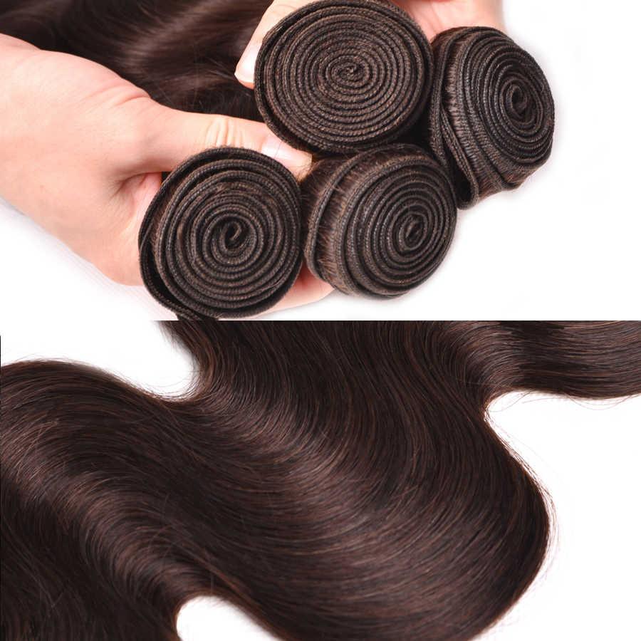 Paquetes de armadura de pelo marrón oscuro/claro precoloreado RUIYU #4 #2 paquetes de pelo brasileño de la onda del cuerpo extensiones de cabello humano no Remy
