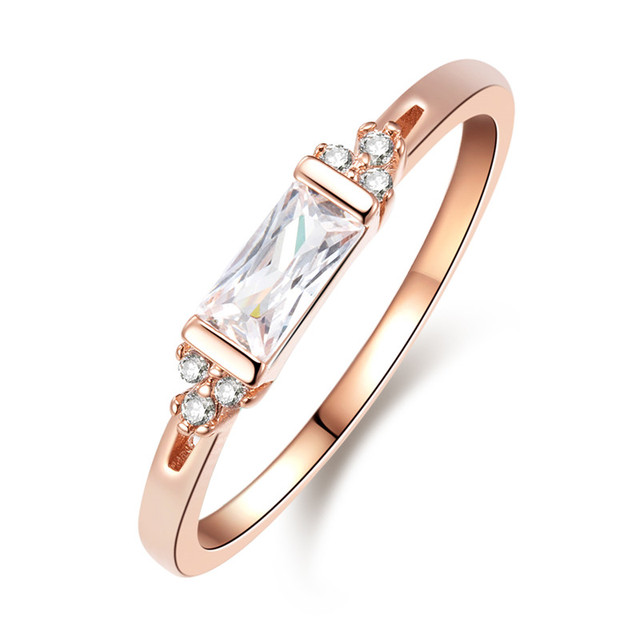 ROMAD Simple Germetric Finger Rings Rose Gold Color Women Engagement Rings for P