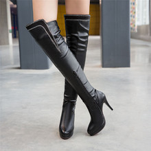 Spring Autumn Winter High Heel Women Over the Knee Boots Woman Thigh High Leather Boots botas Plus Size 34-40 41 42 43