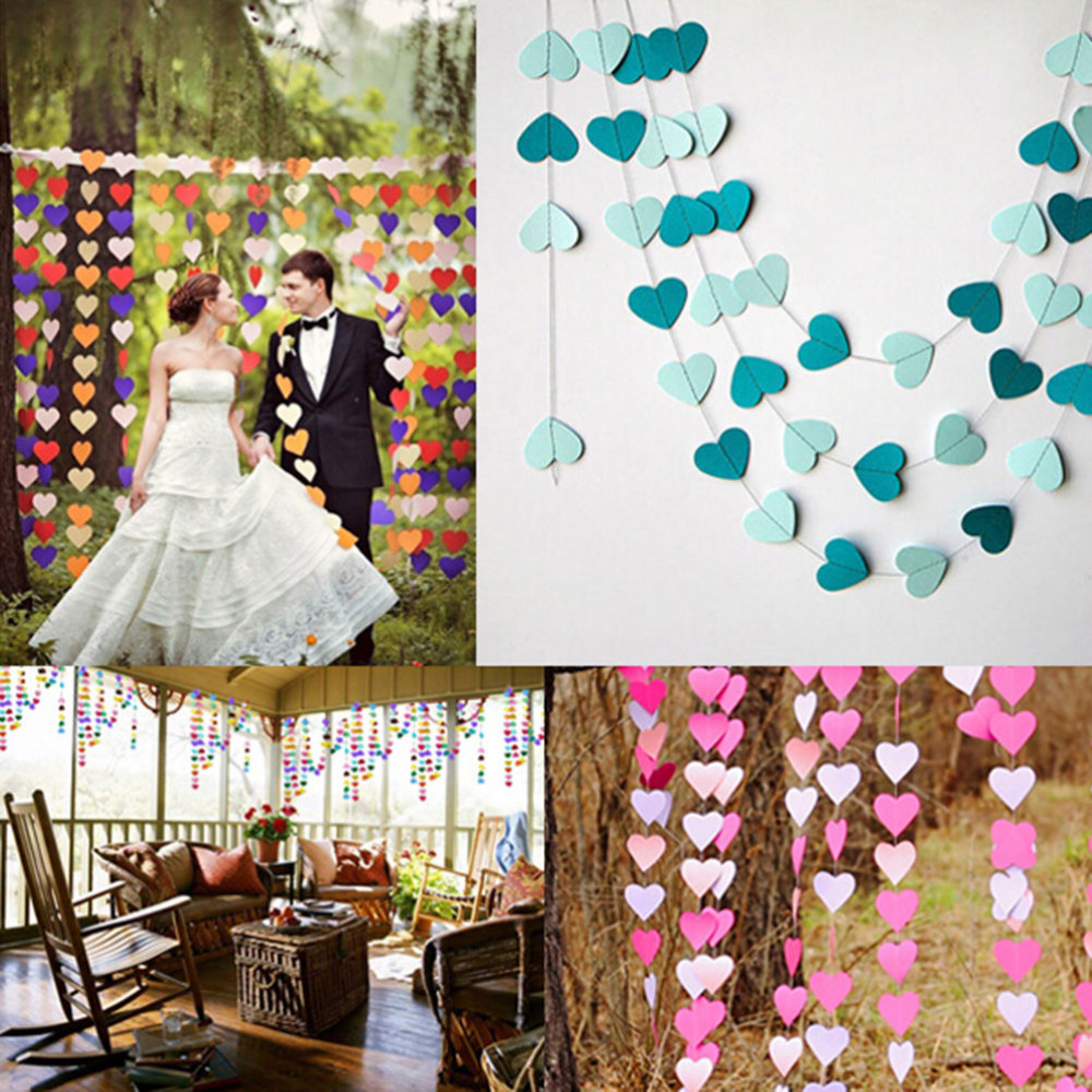 Wall Decoration Ideas Wedding: 4m Colorful Heart Paper Wedding Party Decoration Garland
