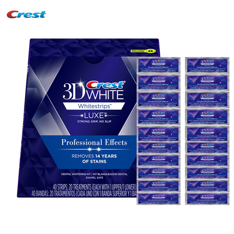 Crest 3D White Whitestrips LUXE 10/20 Treatments (each with 1 upper &1 lower) Professional Effects Teeth Whitening 10 pouches crest teeth whitening strips advanced vivid 3d white original oral hygiene tooth whitestrips no box free shipping